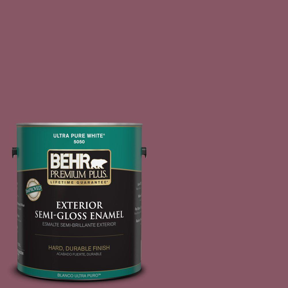 BEHR Premium Plus 1-gal. #100D-6 Rose Garland Semi-Gloss Enamel Exterior Paint