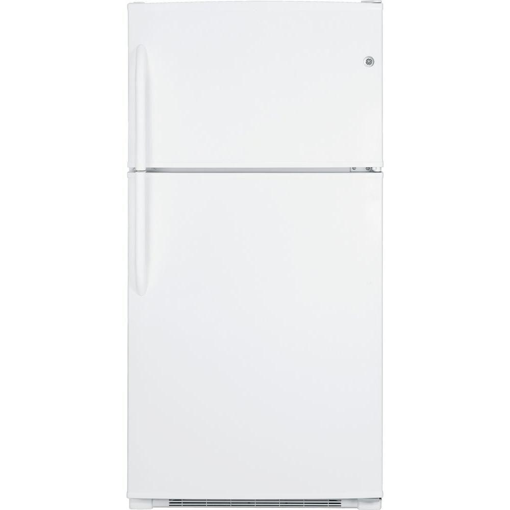GE 21 cu. ft. Top Freezer Refrigerator in White-GTH21KBXWW - The