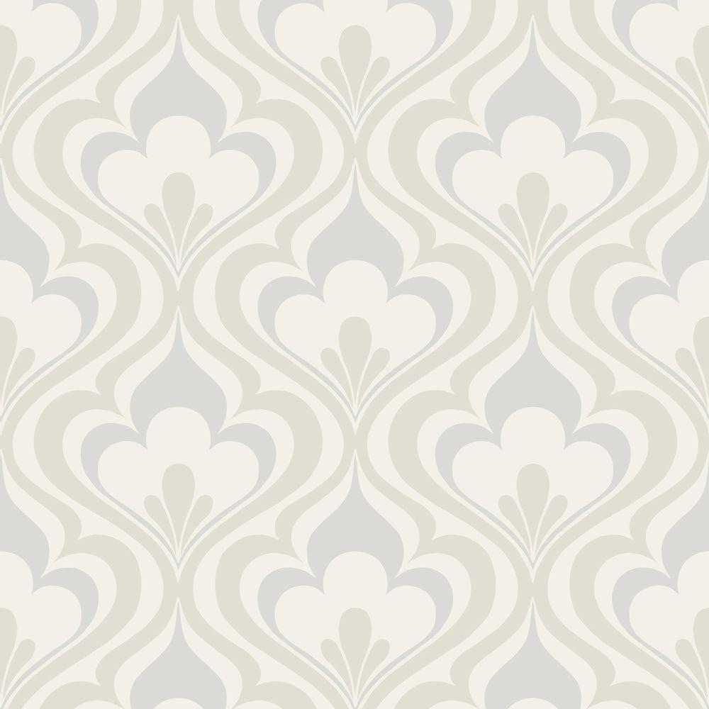 56 sq. ft. Lola Grey Ogee Bargello Wallpaper