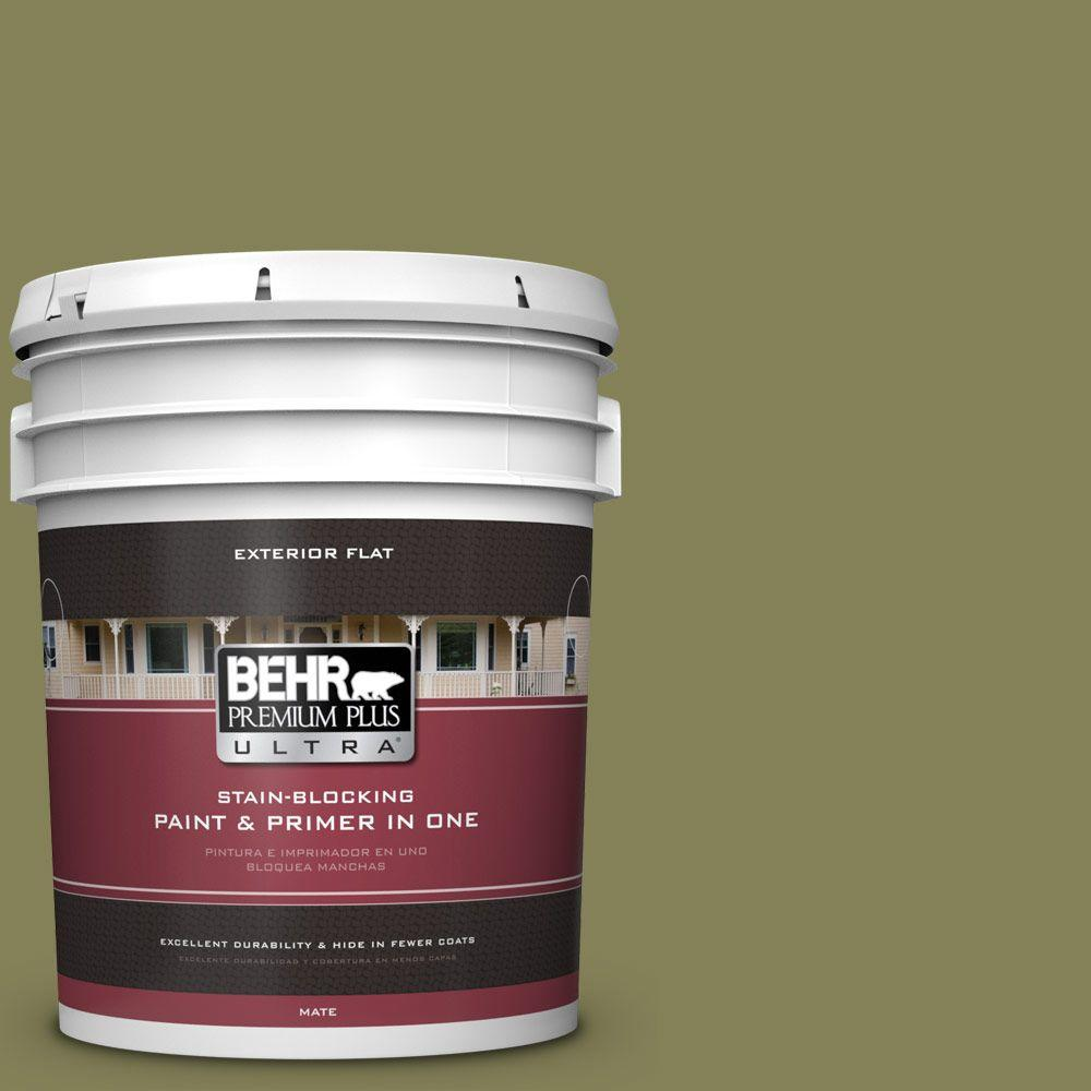 5-gal. #PMD-47 Martini Olive Flat Exterior Paint