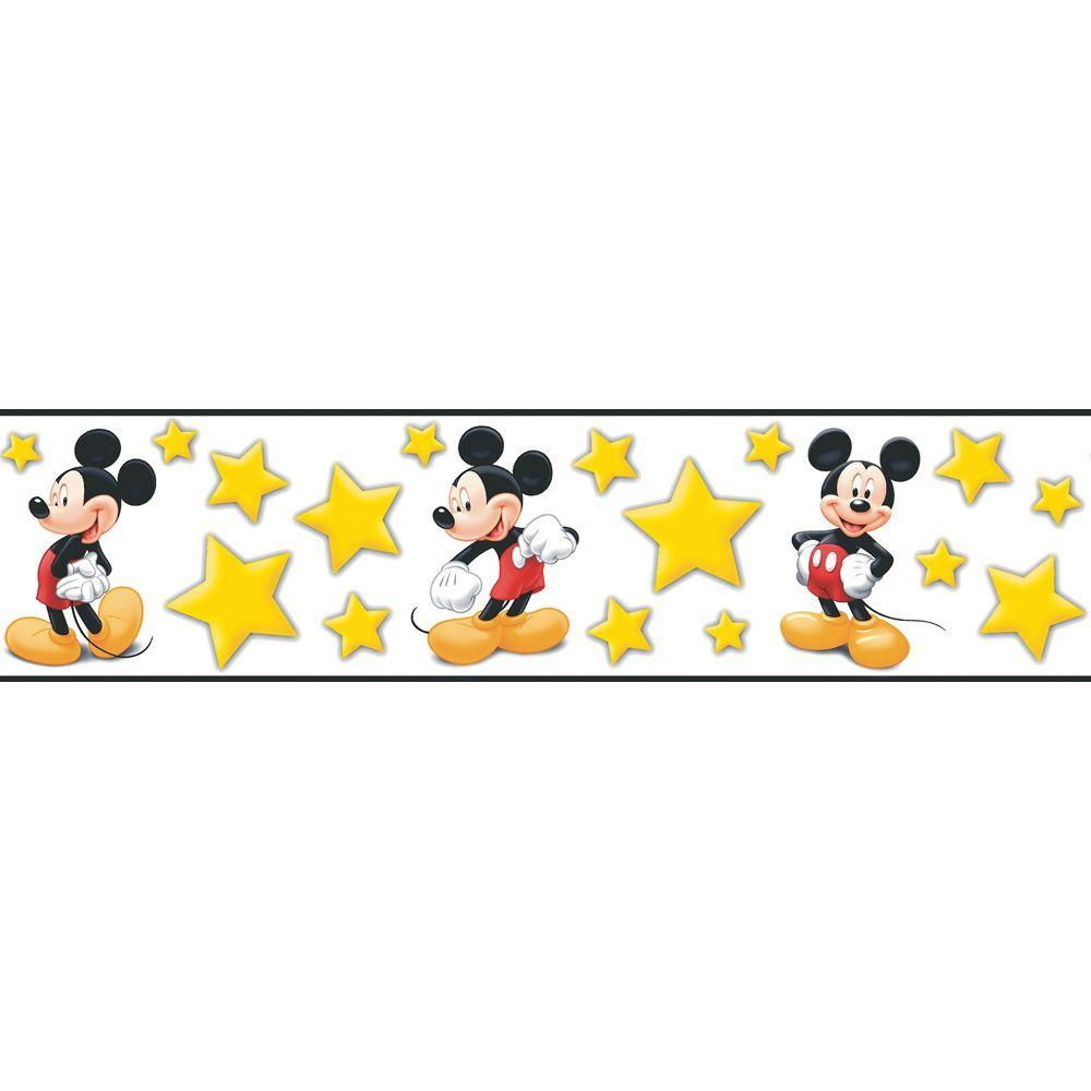 Disney 5.13 in. x 15 ft. Bright Yellow Mickey Stars Border-DISCONTINUED