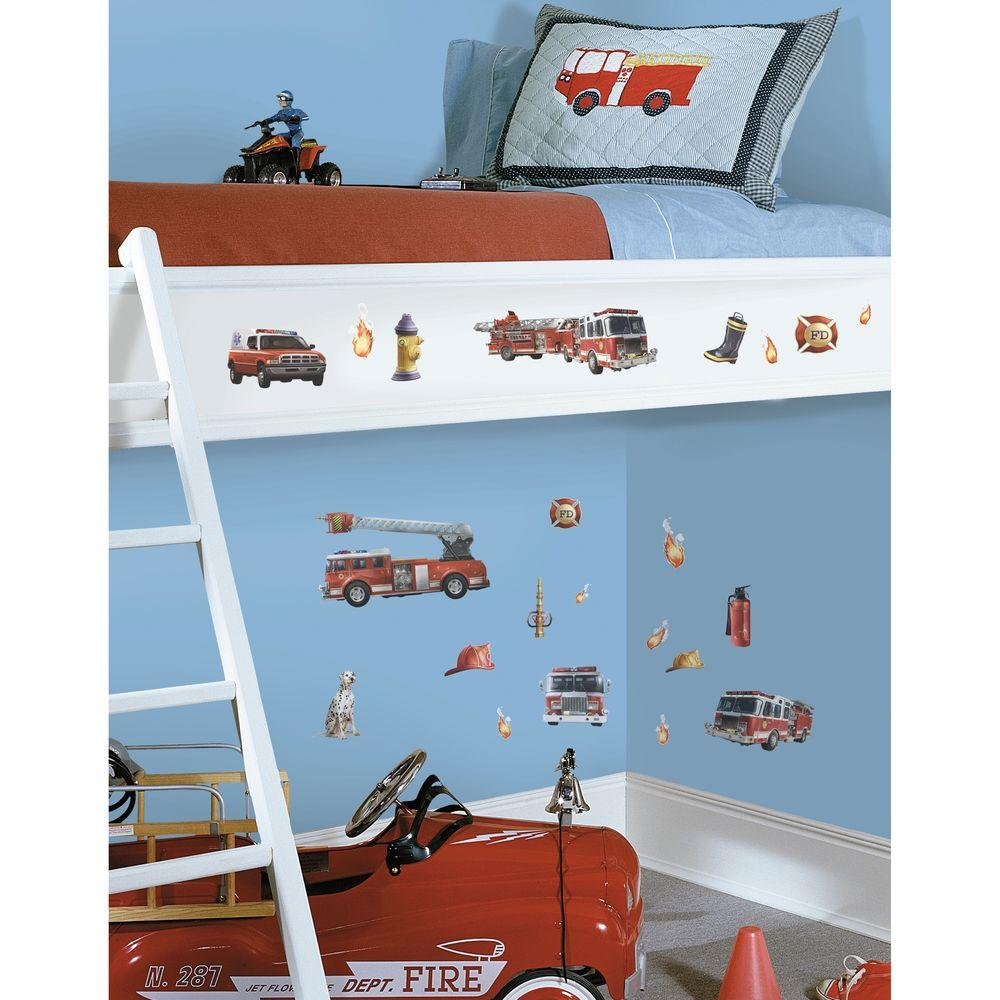 10 in. x 18 in. Fire Brigade 22-Piece Peel and Stick
