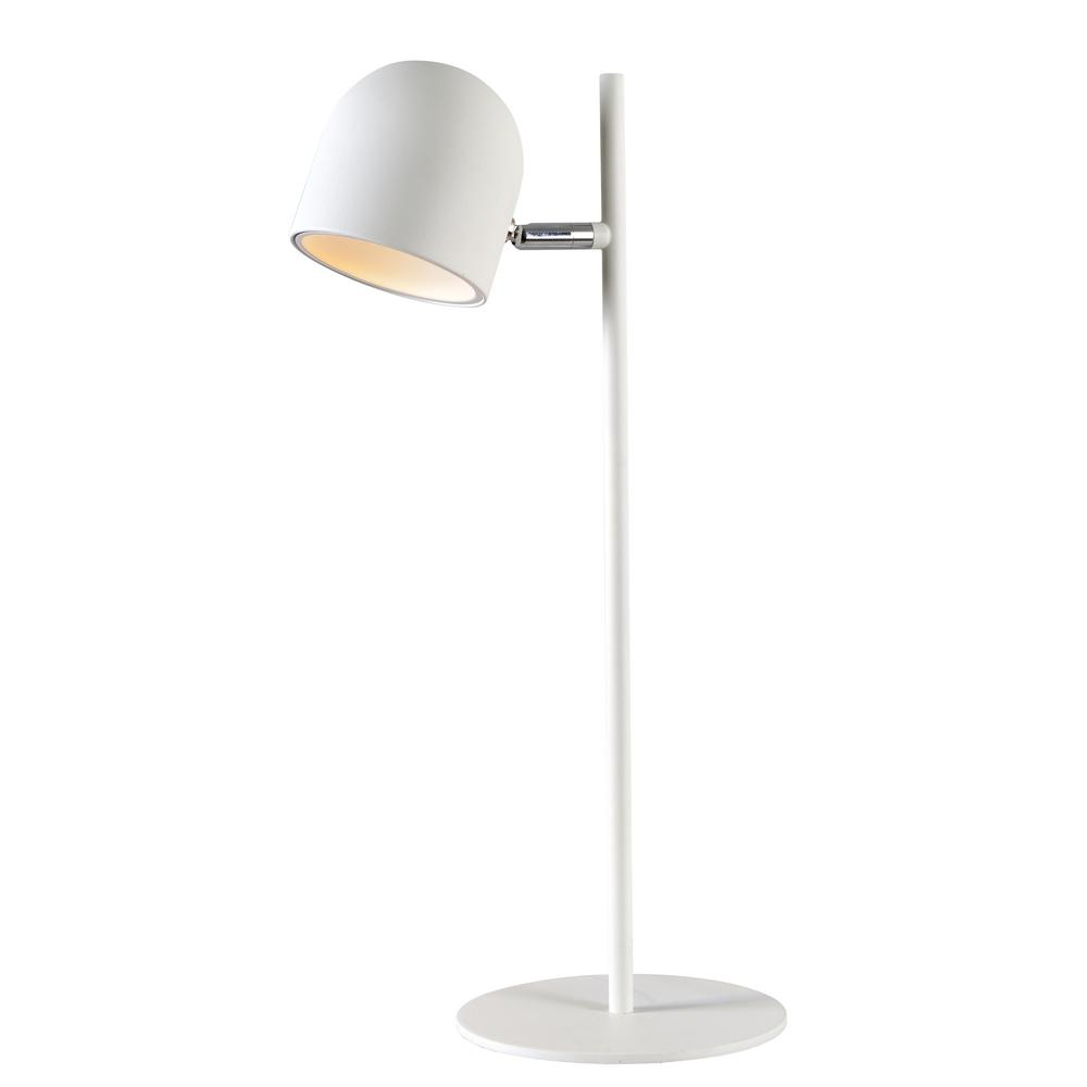 Vidal 18 in. White Desk Lamp with Metal Shade