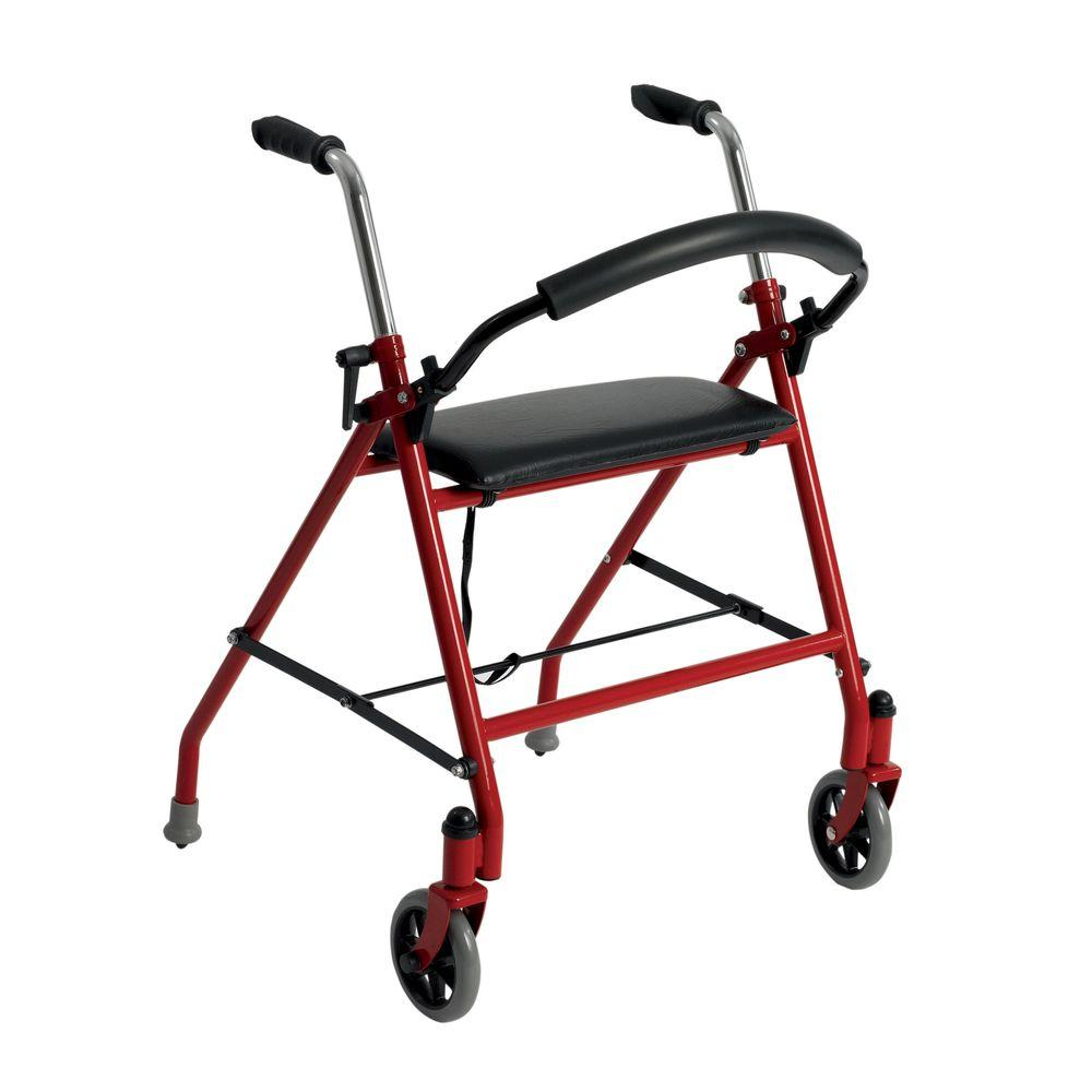 2-Wheeled Walker with Seat in Red