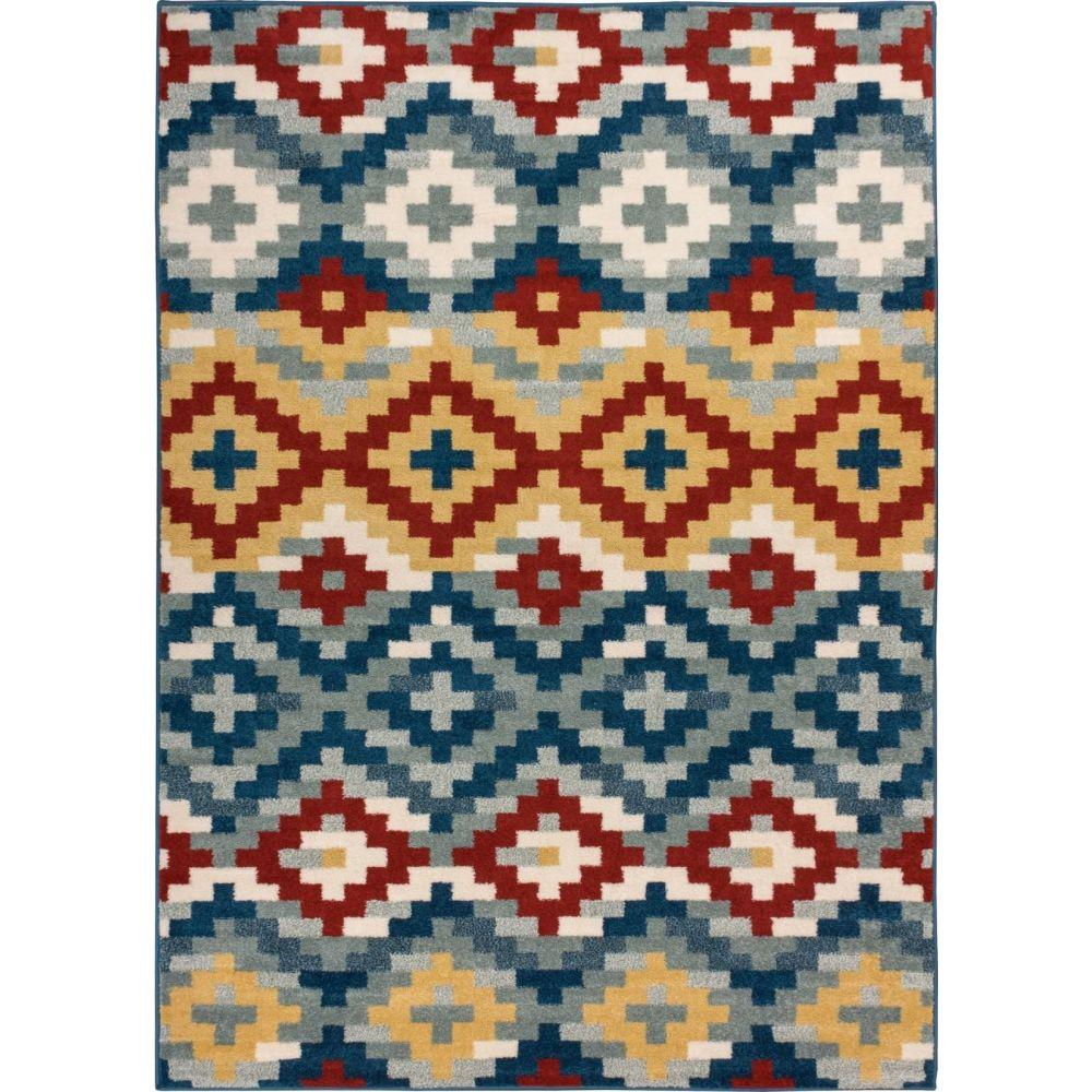 Well Woven Sydney Azteca Works Blue 7 ft. 10 in. x 10 ft. 6 in. Southwestern Area Rug
