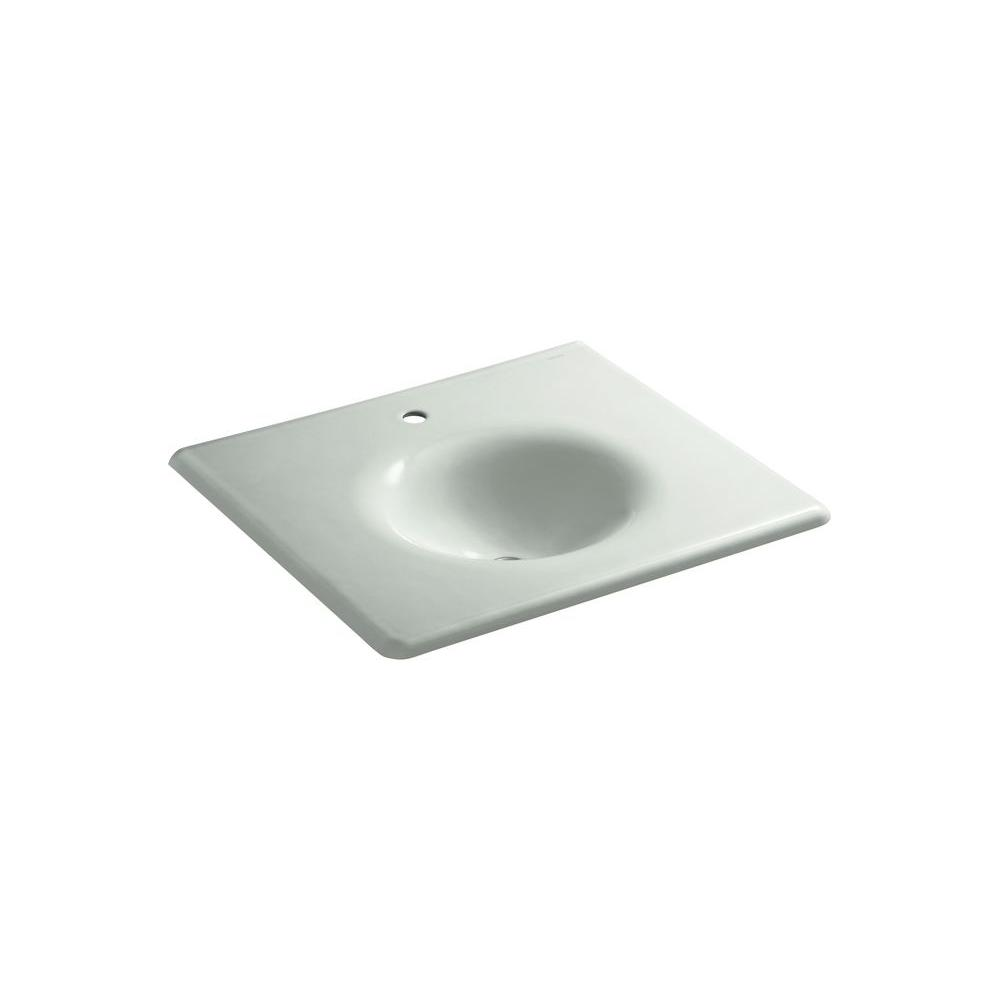 KOHLER Bathroom Iron/Impressions 22.25 in. Single Basin Vanity Top in Sea Salt K-3048-1-FF