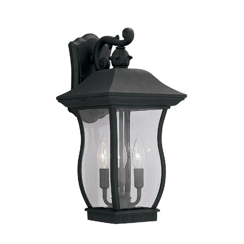 Cumberland Collection 3-Light Black Outdoor Wall-Mount Lantern