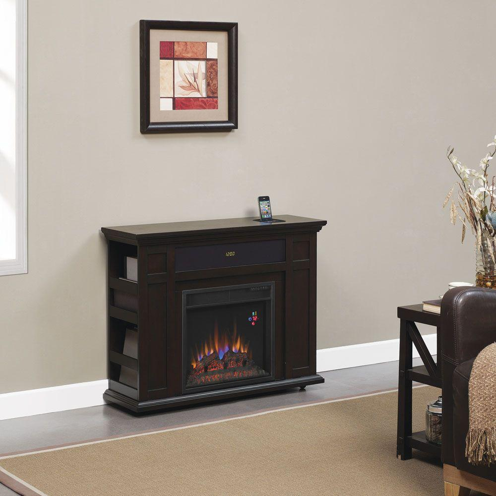 Hampton Bay Templeton 37 in. Rolling Media Console Electric Fireplace in Espresso-DISCONTINUED