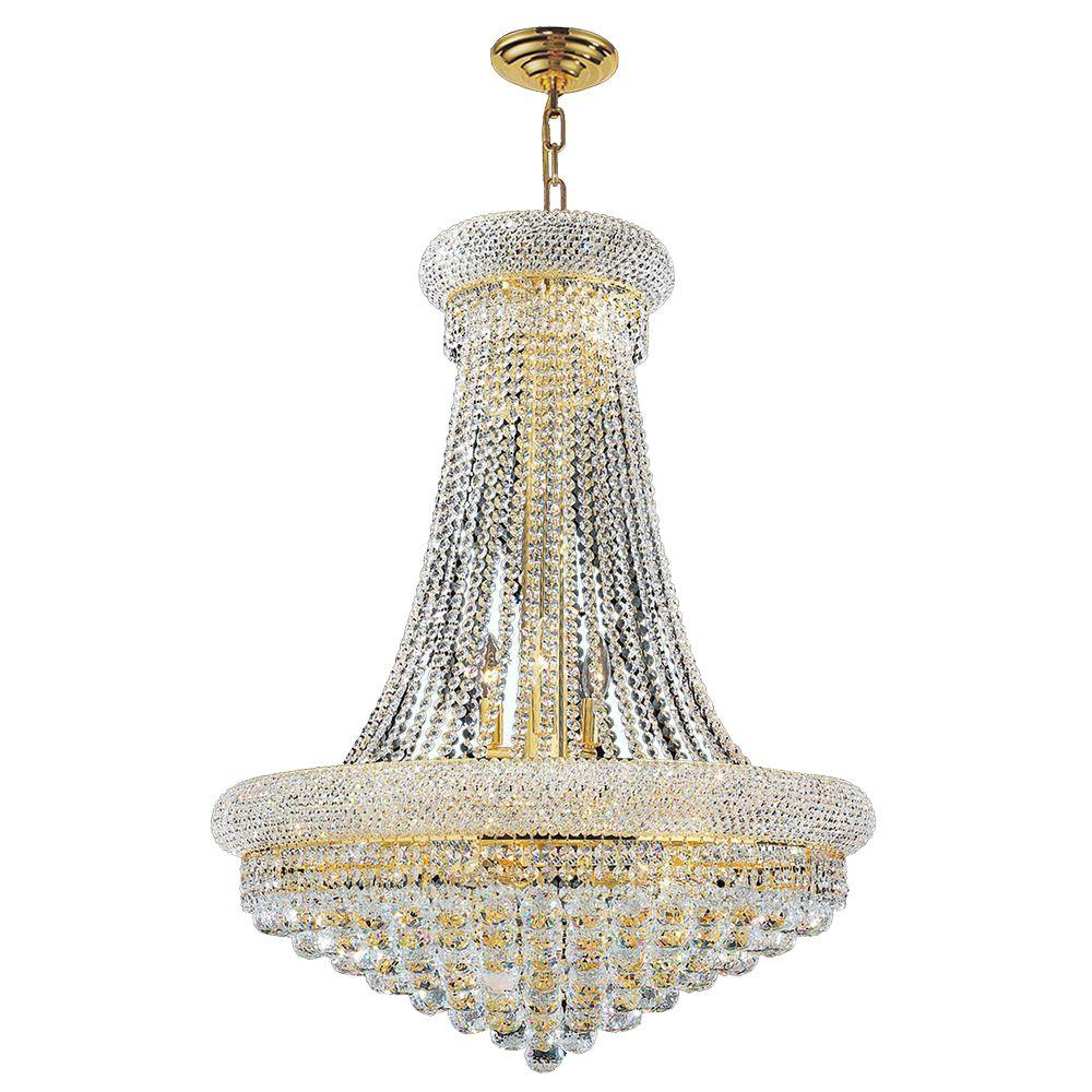 Worldwide Lighting Empire 14-Light Gold Chandelier with Clear Crystal-W83035G28