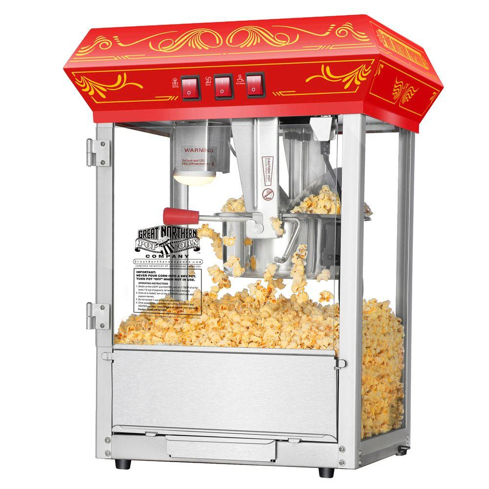 Great Northern Popcorn Red Good Time 8 oz. Popcorn Popper Machine-5805