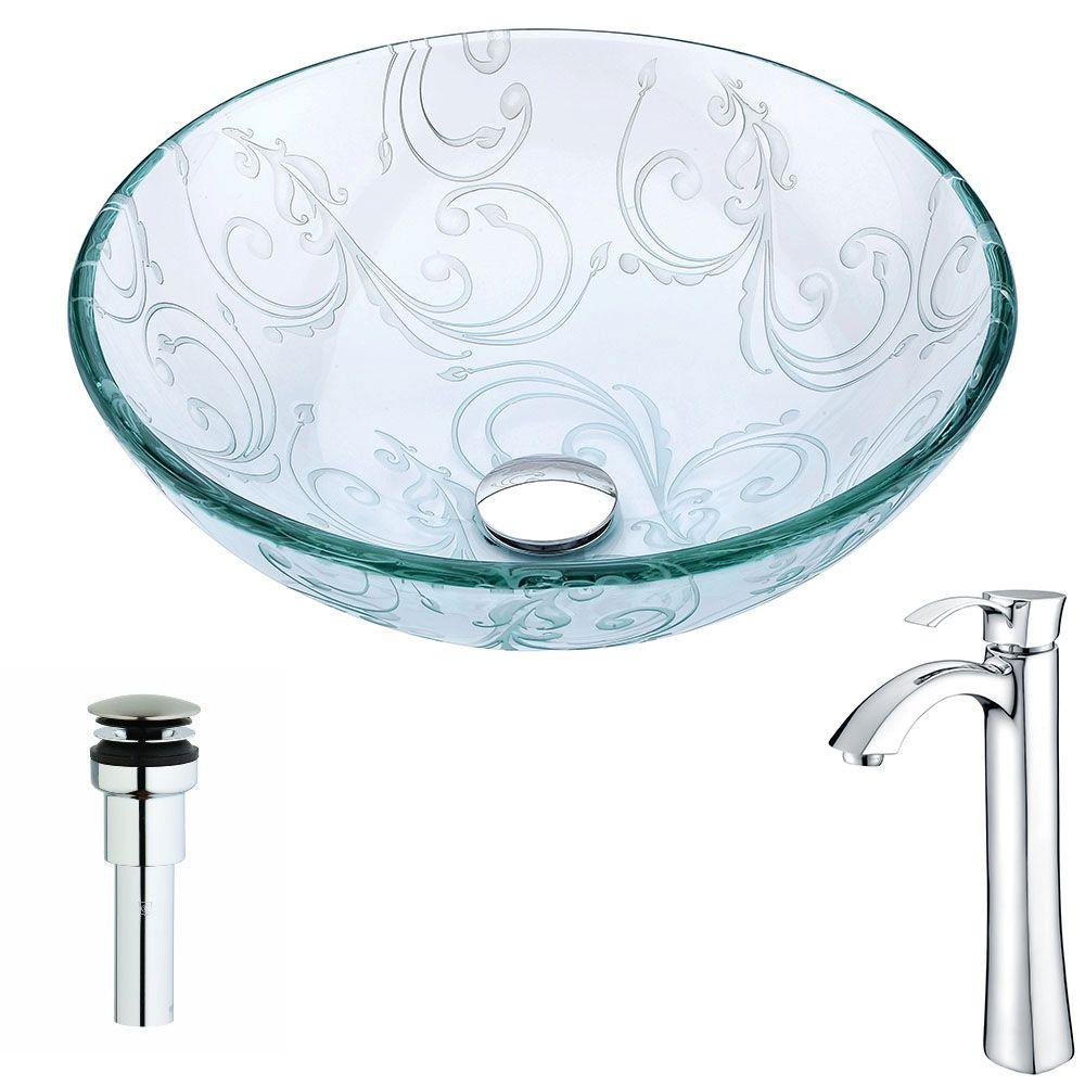 Vieno Series Deco-Glass Vessel Sink in Crystal Clear Floral with Harmony