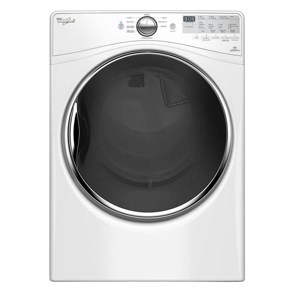 Whirlpool 7.4 cu. ft. Electric Dryer with Steam in White, ENERGY