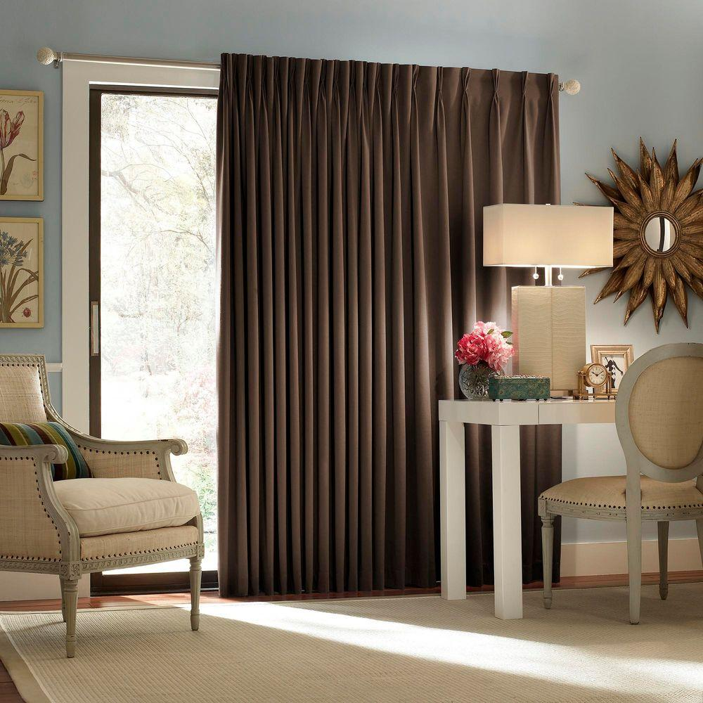 blackout thermal blackout patio door 84 in l curtain panel in espresso - Blackout Curtain