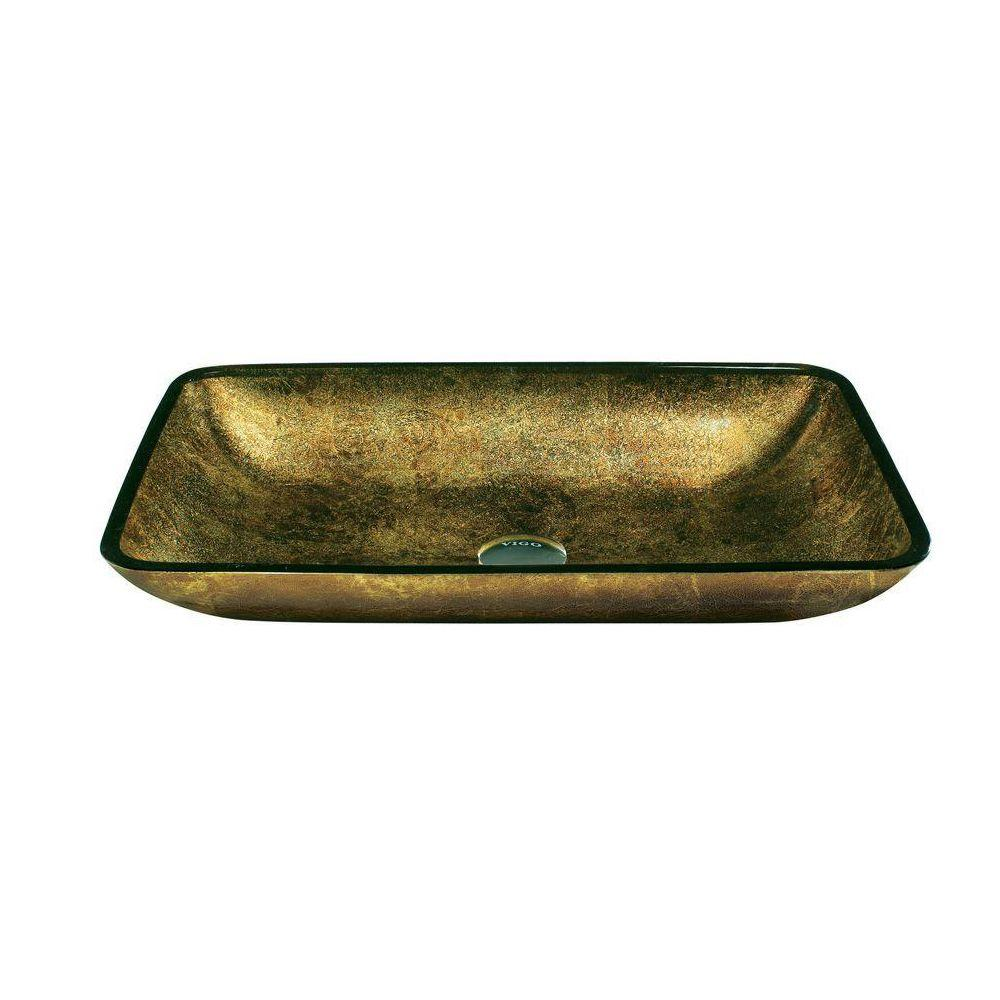 VIGO Vessel Sink and Faucet Set in Brown and Copper