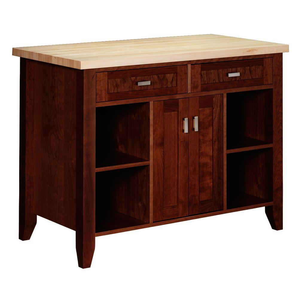 Strasser Woodenworks Provence 48 in. Kitchen Island in Chocolate Cherry with Maple Top