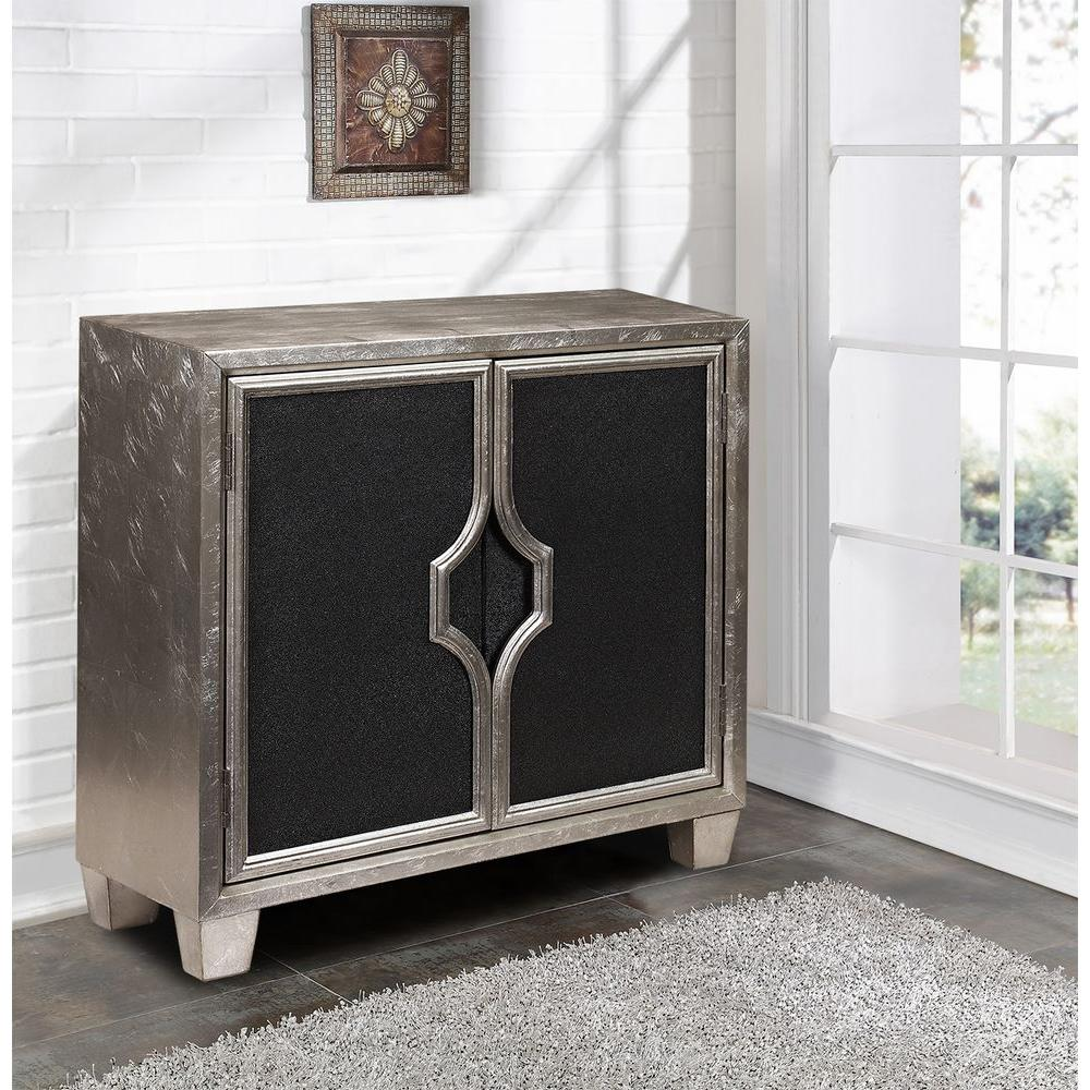 Silver and Black Storage Cabinet