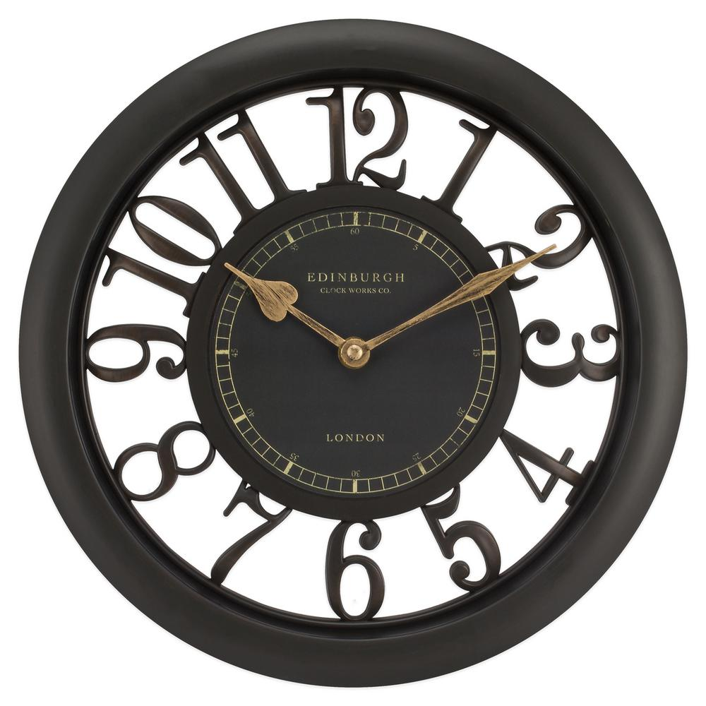 11-1/2 in. Brown Floating Dial Analog Wall Clock