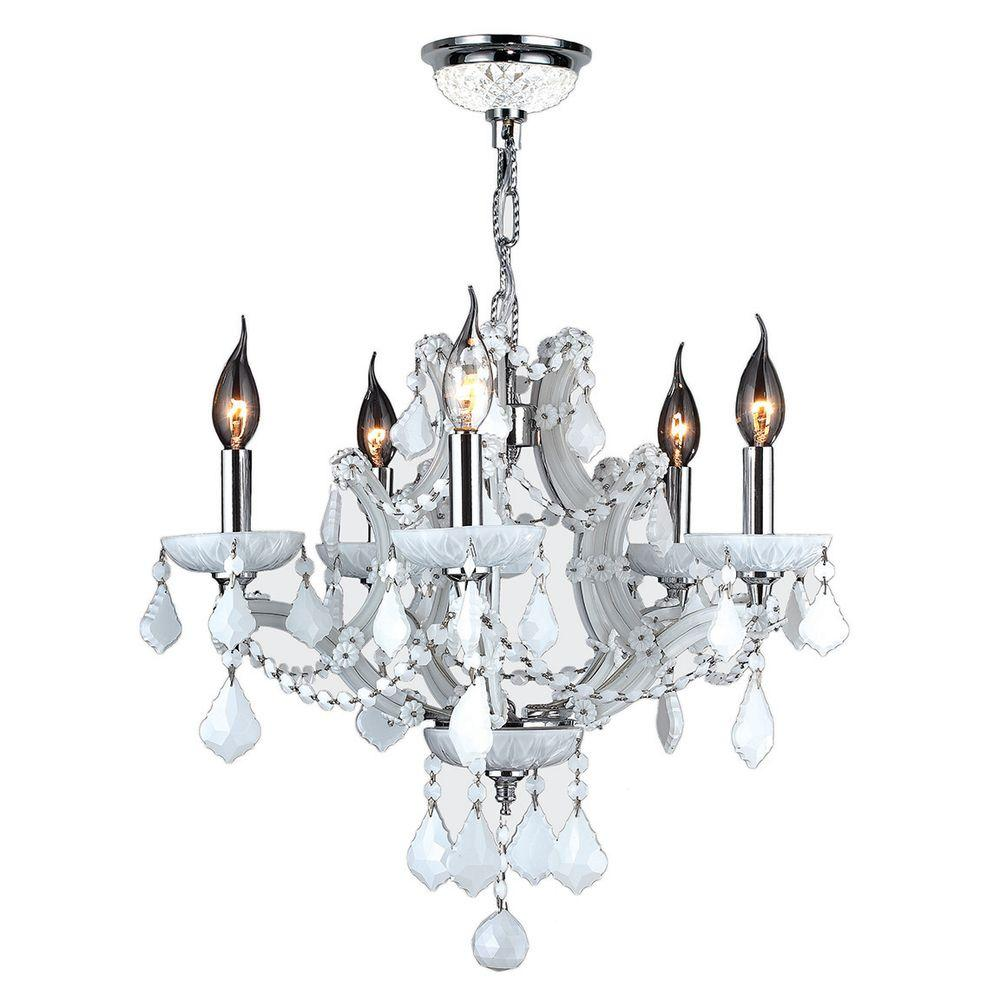 Worldwide Lighting Lyre Collection 5-Light White Crystal and Chrome