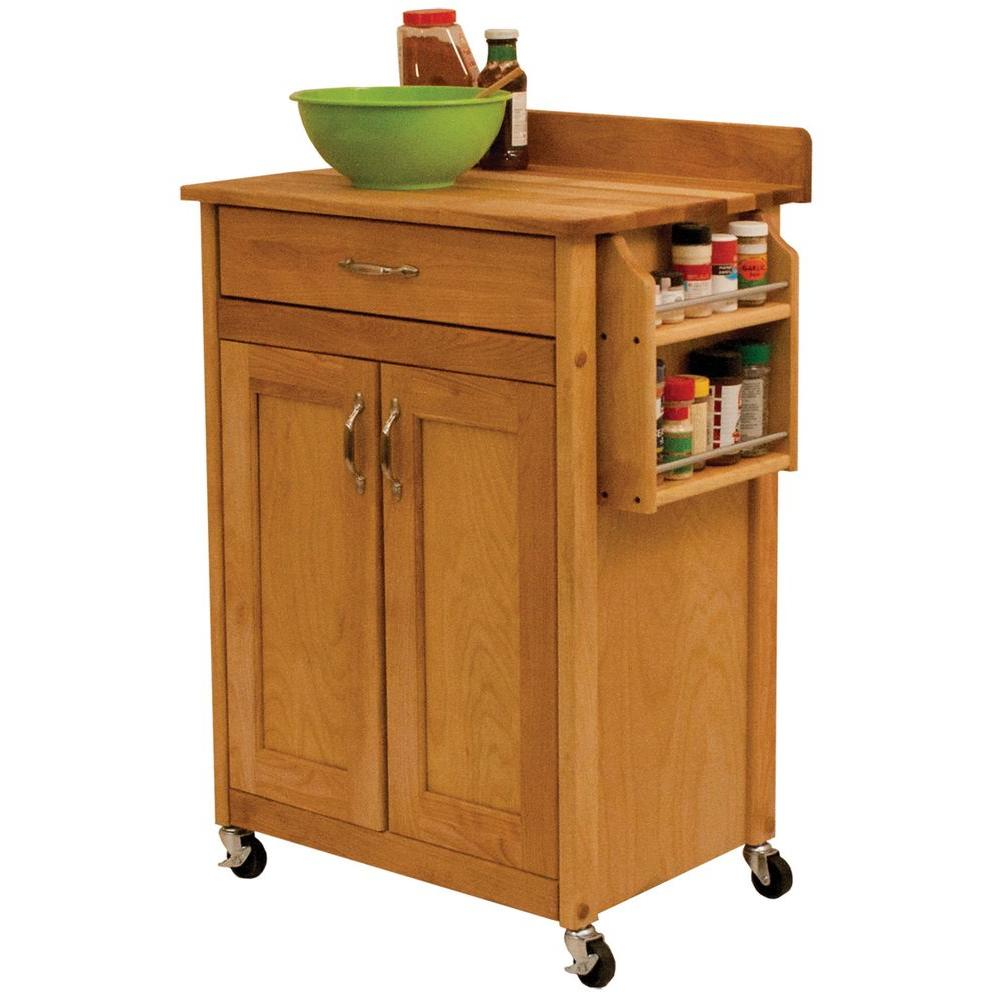 Catskill Craftsmen Natural Kitchen Cart with Butcher Block Top-61533 - The Home Depot