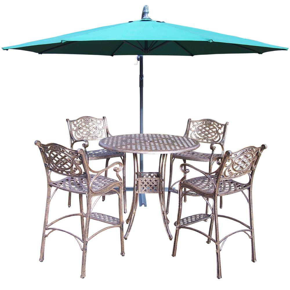 Oakland living 6 piece cast aluminum patio bar height for Patio furniture sets with umbrella