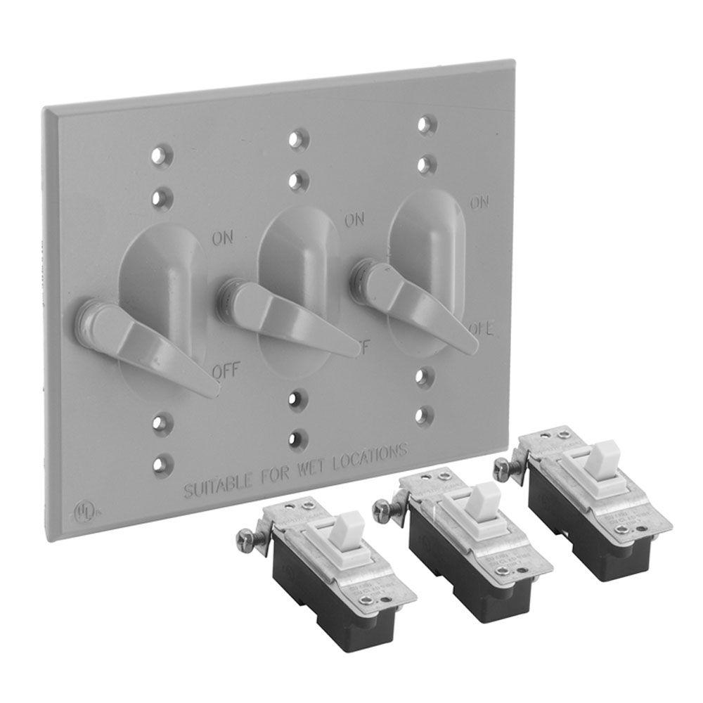 Bell 3 Gang Weatherproof Toggle Switch Cover Kit, Gray