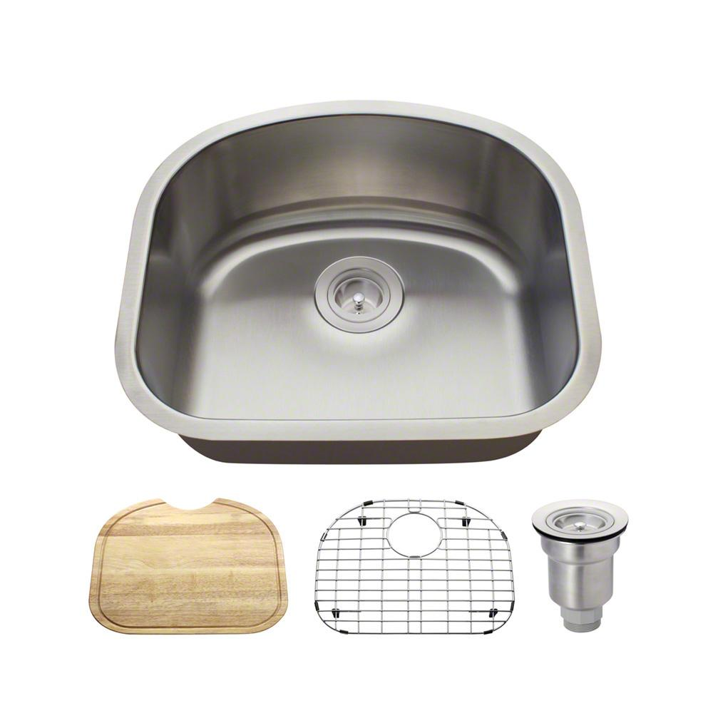 All-in-One Undermount Stainless Steel 20 in. Single Basin Kitchen Sink