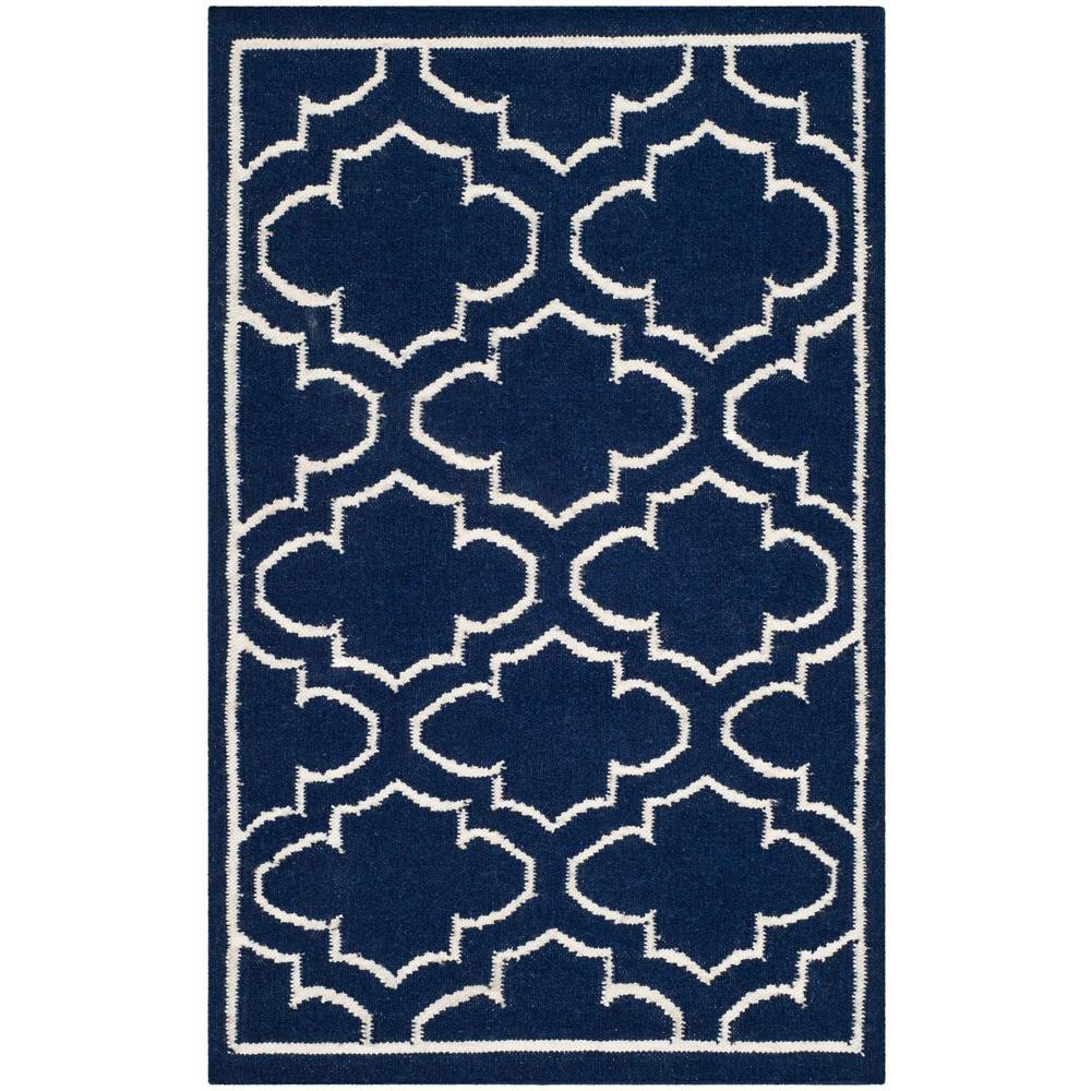 Safavieh Dhurries Navy/Ivory 2 ft. 6 in. x 4 ft. Area Rug