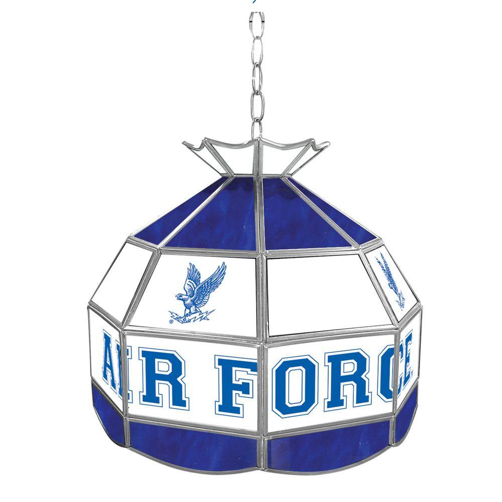 Air Force Falcons 16 in. Gold Hanging Tiffany Style Billiard Lamp
