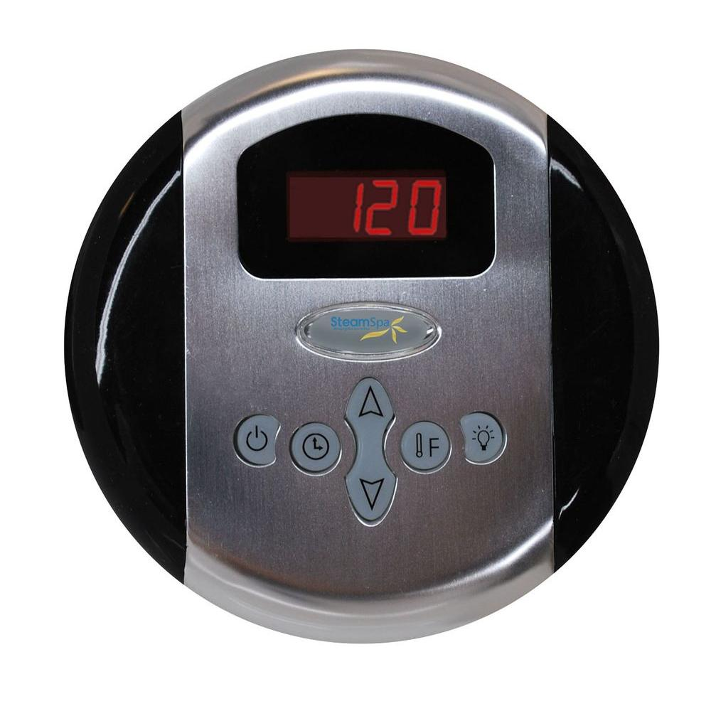 SteamSpa Programmable Steam Bath Generator Control Panel with Presets in Brushed
