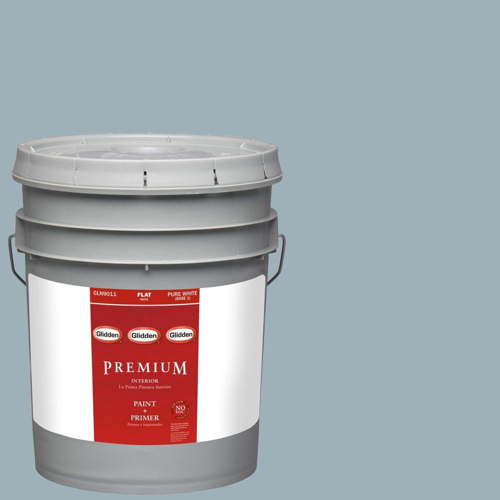 Glidden Premium 5-gal. #HDGCN32D Soft Traditional Blue Flat Latex Interior Paint with Primer
