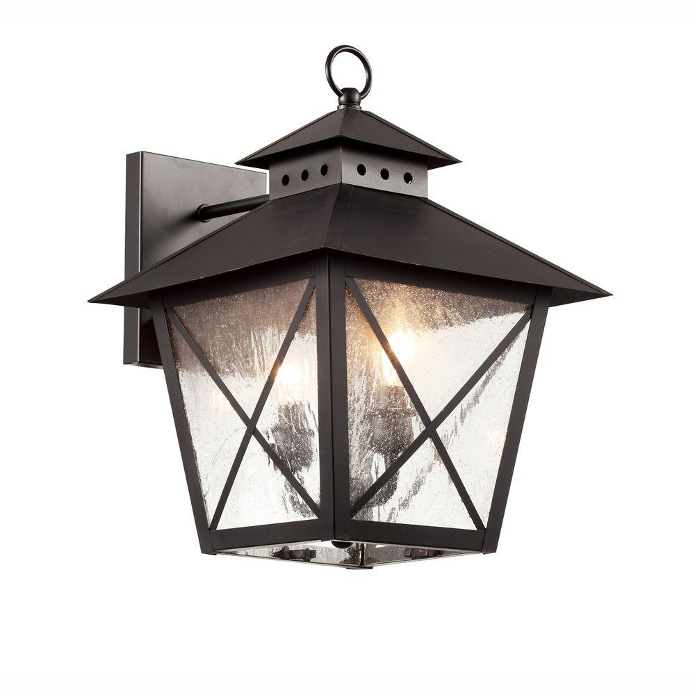 Farmhouse 2-Light Outdoor Black Wall Lantern with Seeded Glass