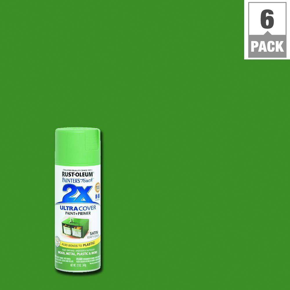 12 oz. Satin Leafy Green General Purpose Spray Paint (6-Pack)