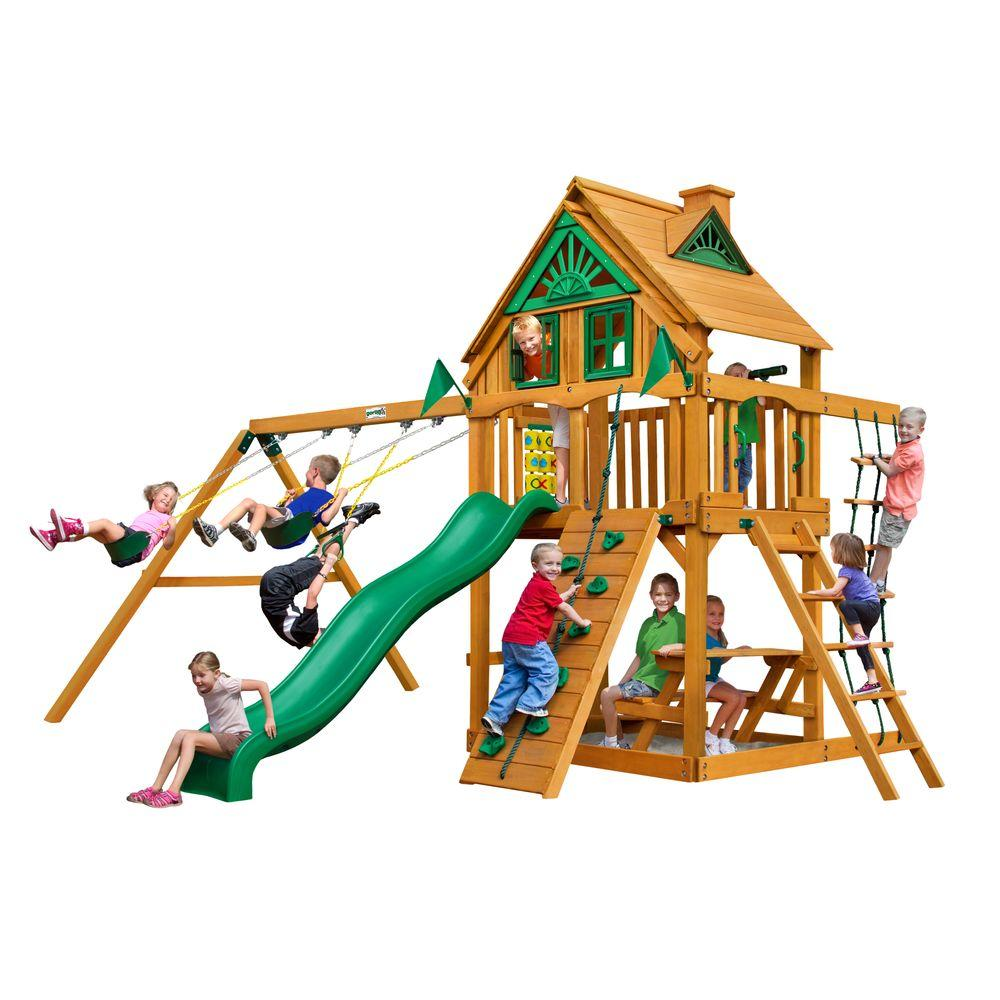 Gorilla Playsets Chateau Treehouse Swing Set with Amber Posts-01-0050-AP - The