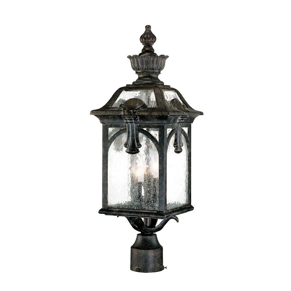 Acclaim Lighting Belmont Collection 3-Light Outdoor Black Coral Post Light Fixture