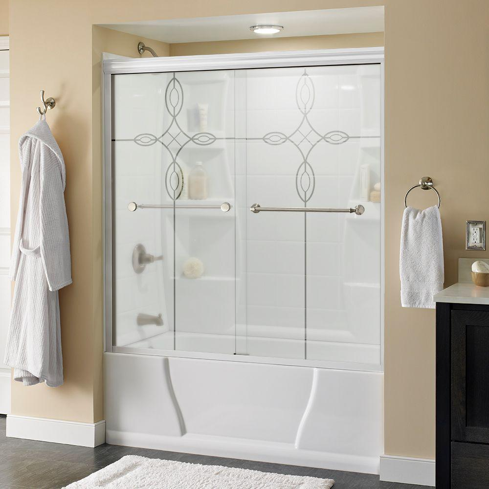 Delta Mandara 59-3/8 in. x 56-1/2 in. Sliding Tub Door in White with Nickel Hardware and Semi-Framed Tranquility Glass