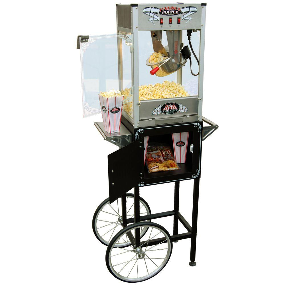Funtime Popcorn Popper Machine Maker Hot Oil 8 oz. with Cart-DISCONTINUED