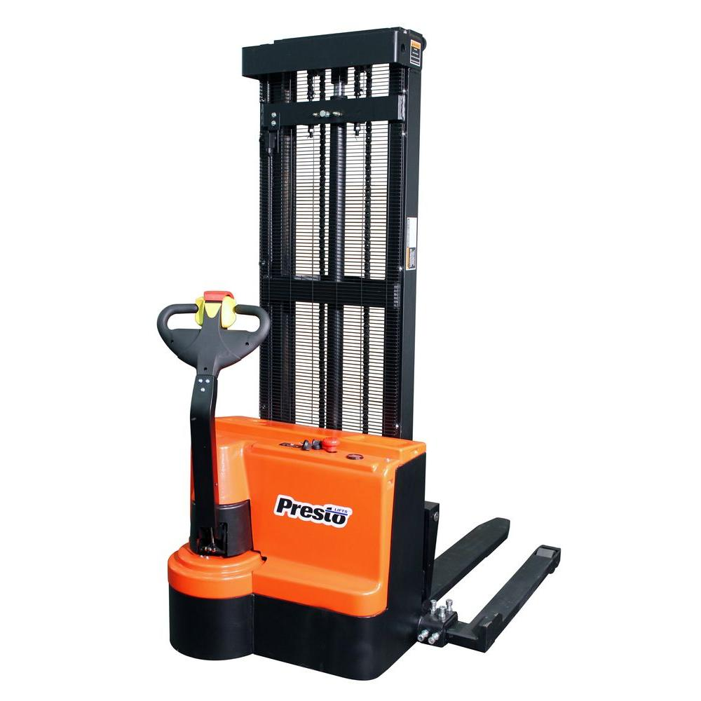 Presto Lifts 2200 lb. Powered Adjustable Straddle Stacker with Telescoping