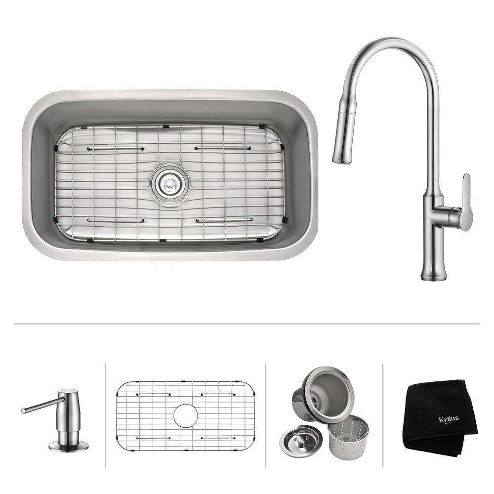 KRAUS All-in-One Undermount Stainless Steel 32 in. Single Bowl Kitchen Sink