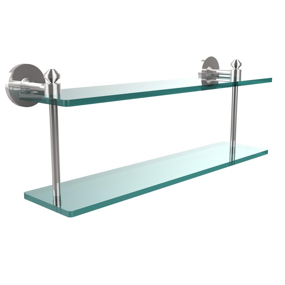 Southbeach Collection 22 in. 2-Tiered Glass Shelf in Polished Chrome