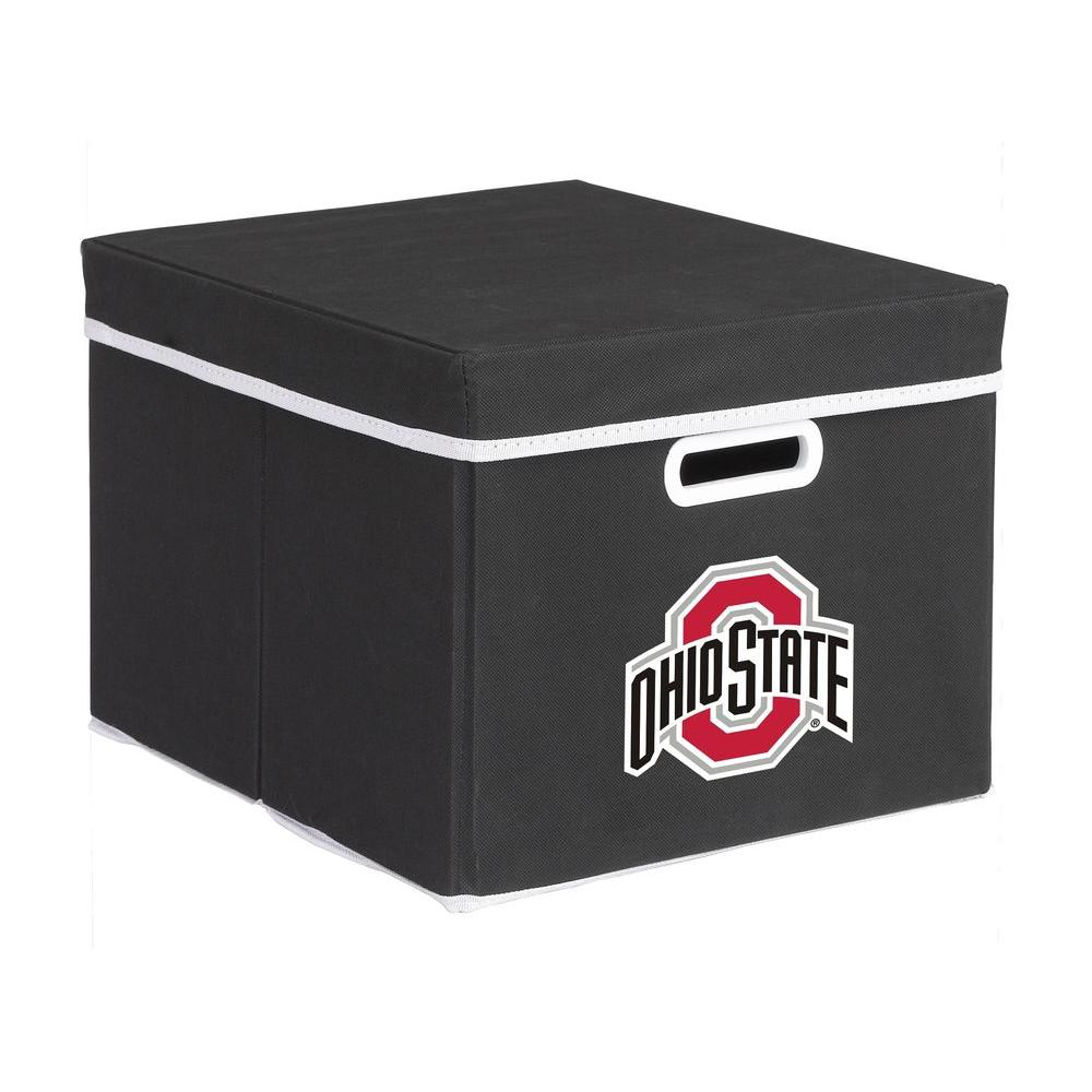 MyOwnersBox College Stackits Ohio State University 12 in. x 10 in. x 15 in. Stackable Black Fabric Storage Cube