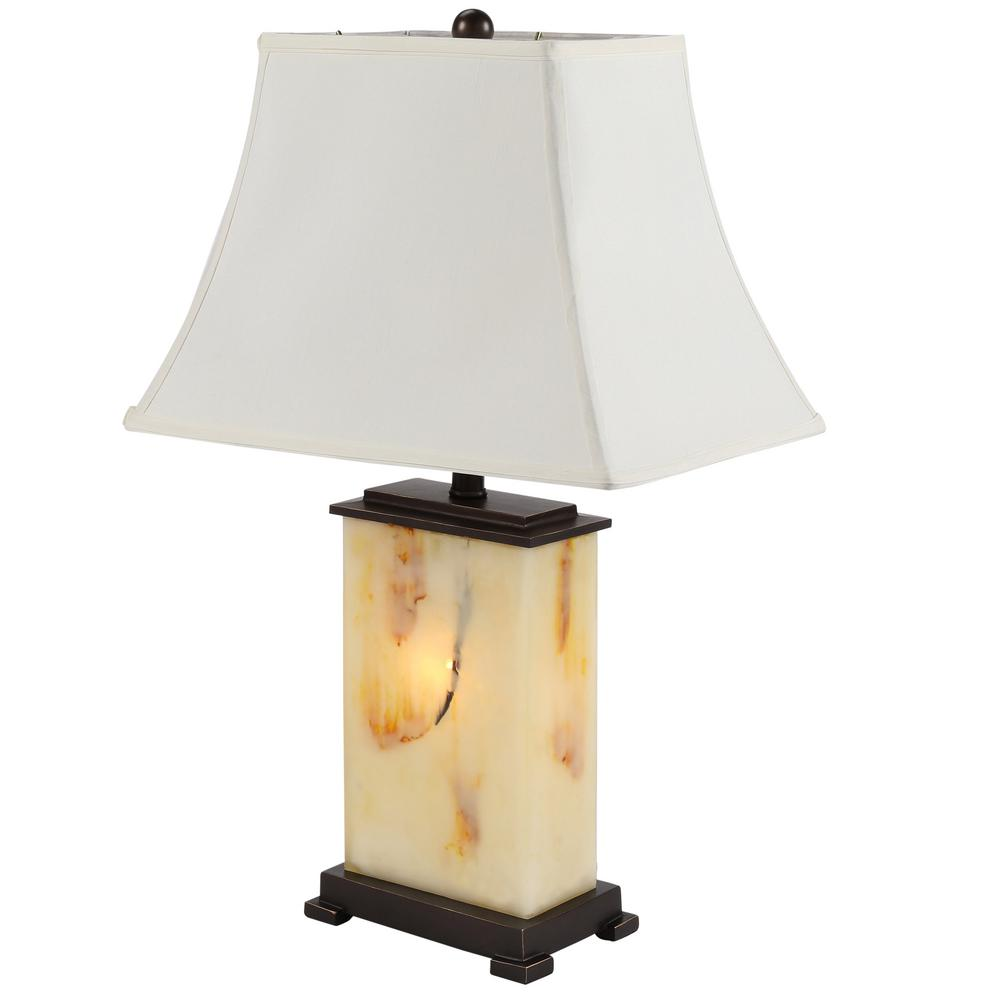 Ore International 28 In Ivory Brown And Black Table Lamp With Night Light