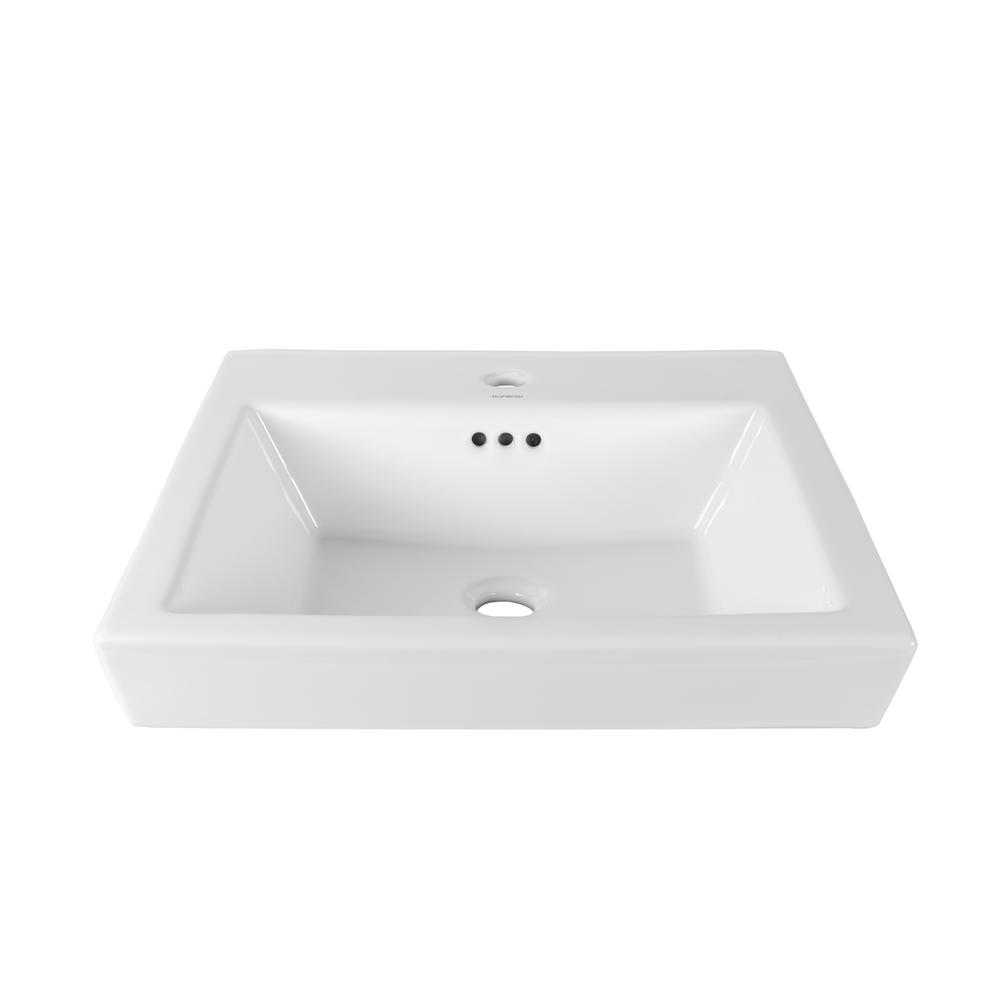 Square Vessel Sink White : Ronbow Square Tapered Self-Rimming Ceramic Vessel Sink in White-200480 ...