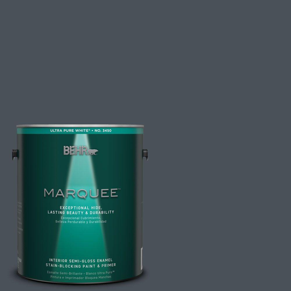Interior Paint, Exterior Paint & Paint Samples: BEHR MARQUEE Paint 1-gal. #T15-2 Seared Gray Semi-Gloss Enamel Interior Paint 345301