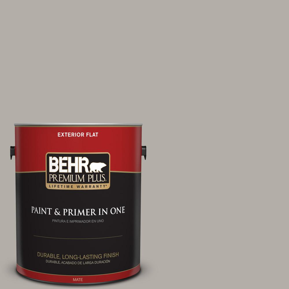 1 gal. #T17-09 Laid Back Gray Flat Exterior Paint