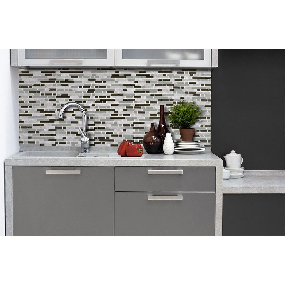peel and stick mosaic decorative wall tile backsplash in grey 12 pack