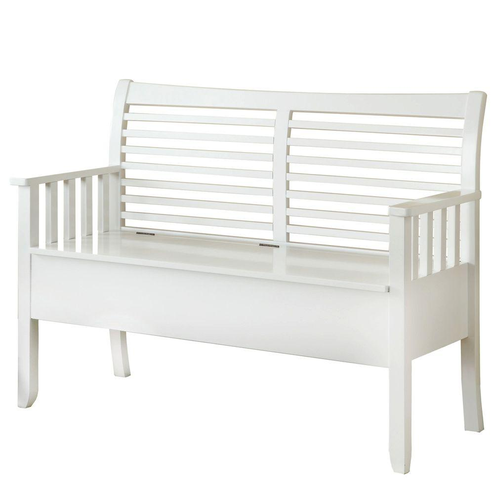 Monarch Specialties 48 in. L Solid Wood Bench with Storage in White