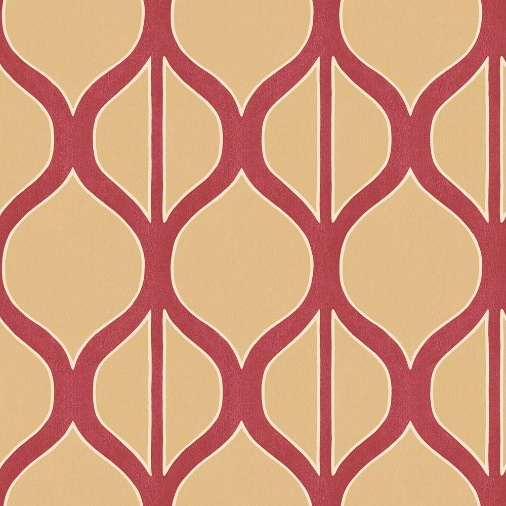 The Wallpaper Company 8 in. x 10 in. Red Cream Modern Geometric Design Wallpaper Sample