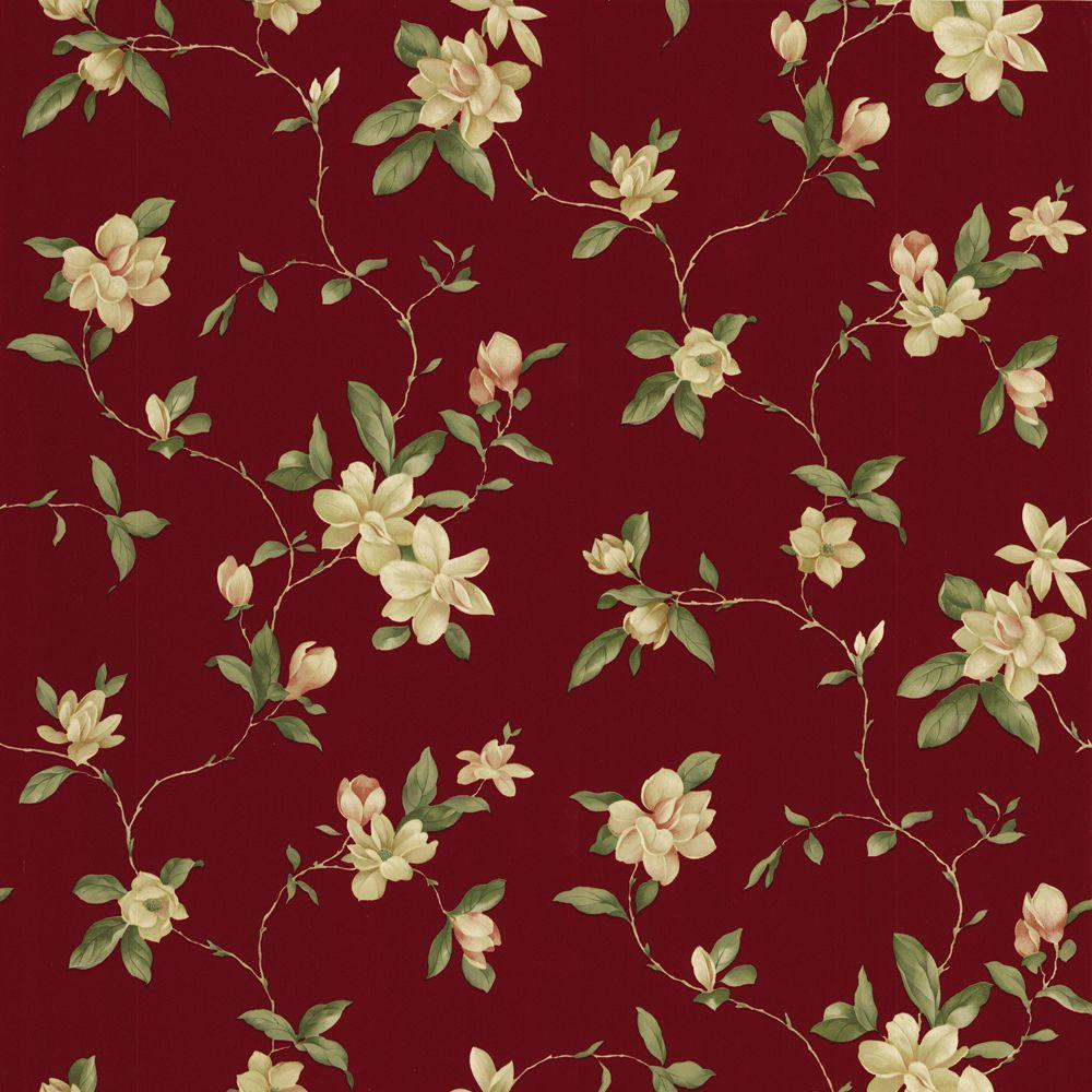The Wallpaper Company 56 sq. ft. Red Floral Trail Wallpaper-DISCONTINUED