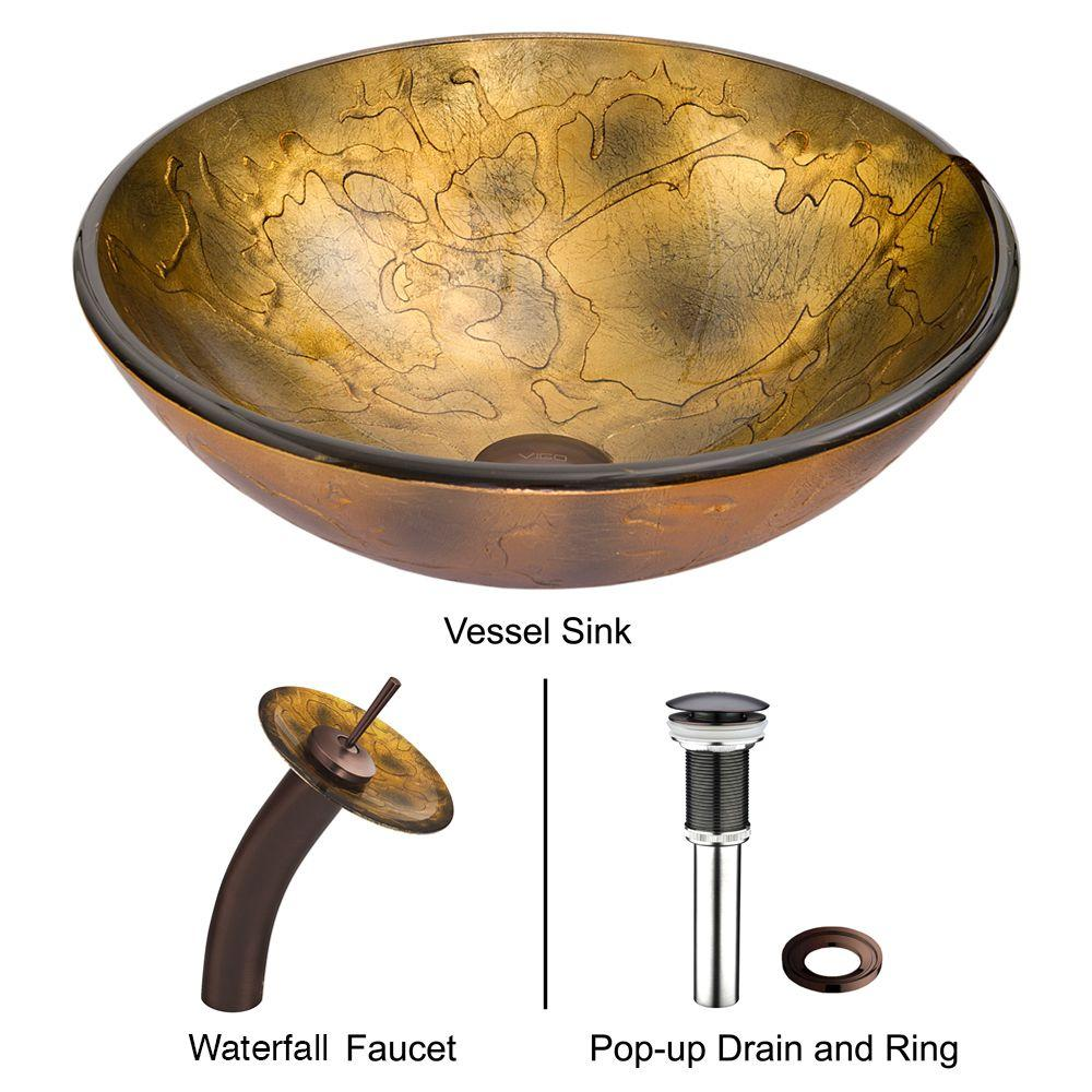 Vigo Shapes Vessel Sink in Copper with Waterfall Faucet in Browns/Golds