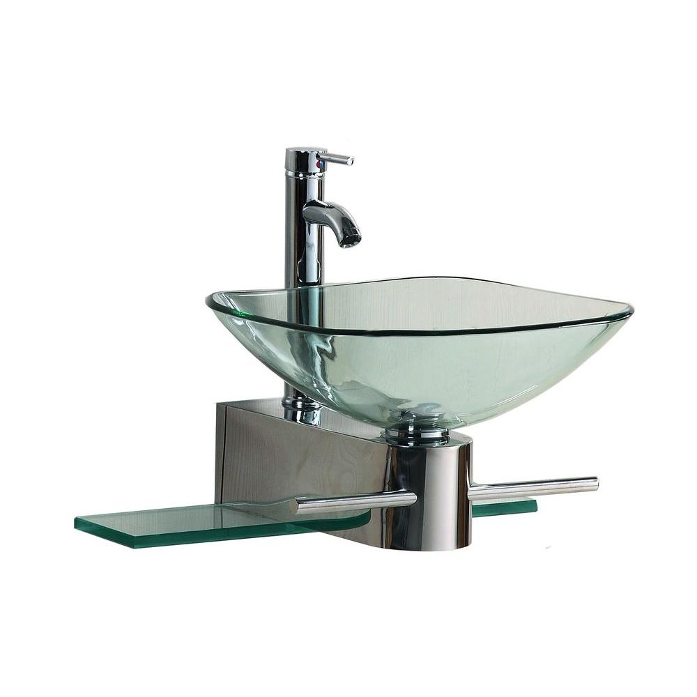 Kokols Wall-Mounted Bathroom Sink in Clear-0799861325307 - The Home Depot